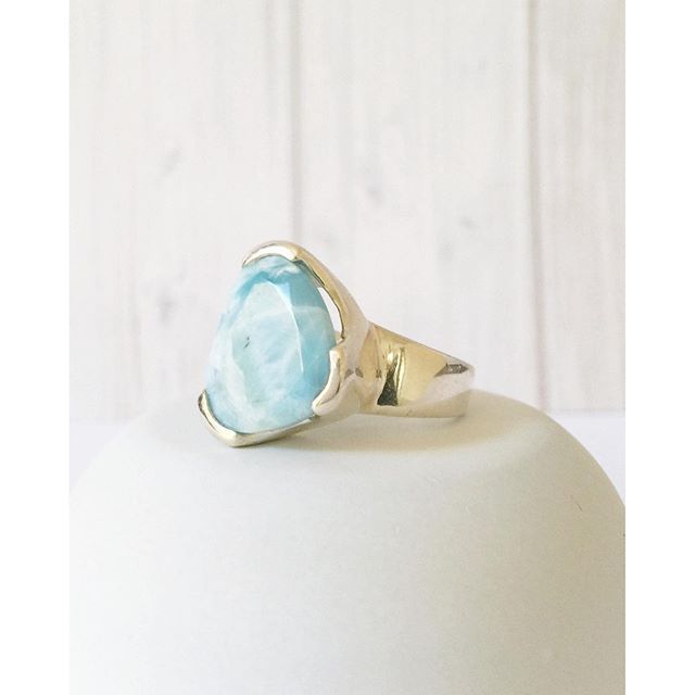Larimar - Harmony :blue_heart:  Courage :blue_heart:  Nurturing⠀ New sizes restocked in our Larimar Everyday Cocktail Ring. www.uberkate.com.au