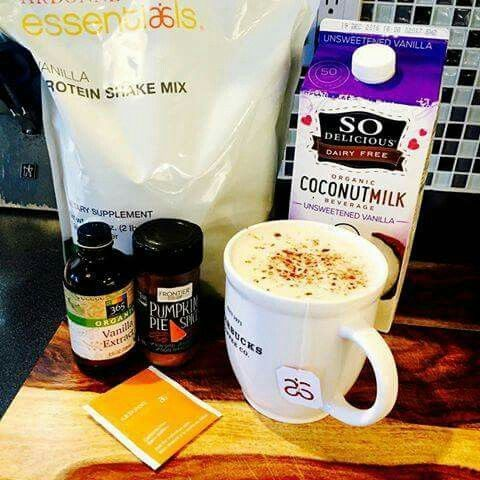 Move over Starbucks, try this super delicious Arbonne Vanilla Spiced Latte! Super simple and way better for you than the super sugary lattes at coffee shops. Brew 1 cup Arbonne Herbal Detox Tea in 8oz water. In a blender, add 1 scoop of Arbonne Vanilla Protein Shake Mix, 1/2 cup unsweetened almond or coconut milk, a 1/2 teaspoon of vanilla, and a few drops of stevia, if desired. Add the hot tea and blend on high to get it frothy. Serve sprinkled with pumpkin spice (cinnamon, nutmeg)!