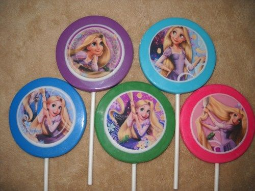 """1 chocolate edible decal 3"""" round princess tangled 
