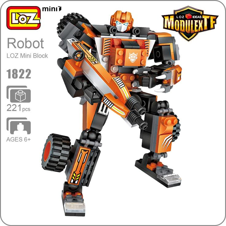 LOZ Mini Blocks Transformation Truck Crane Car Toys For Boys Robot Deformation Action Figures Gift Brinquedos Funny Bricks 1822 #Affiliate