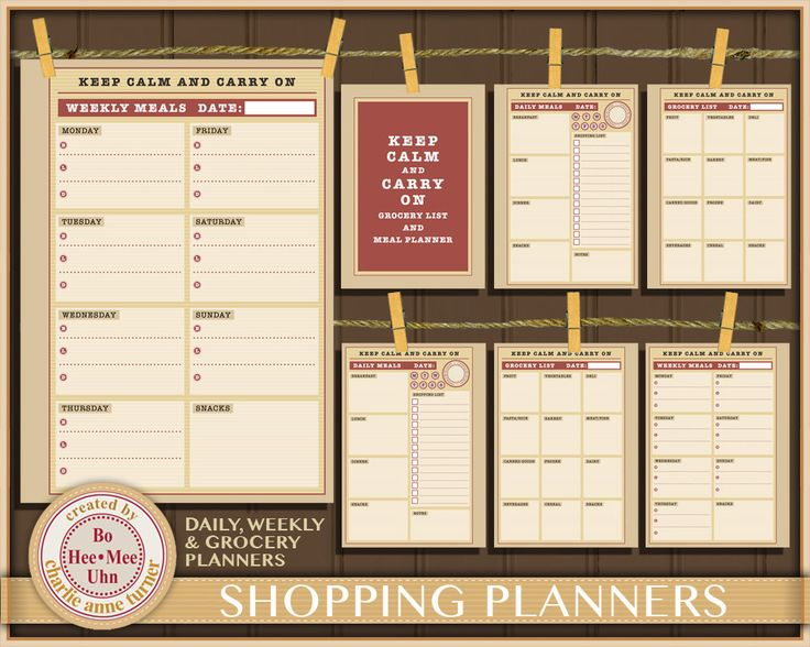 A5 Keep Calm and Carry on Planner pages: Daily, Weekly and Grocery Shopping List inserts. Instant Digital Download Printables. by BoHeeMeeUhn on Etsy