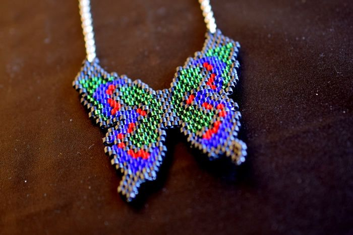 Beautiful Beaded Butterfly , Blue Gray Green and Red Beaded Butterfly ,Butterfly Necklace  , Brick stitch , Beadwork , Festival Necklace by mariellascode on Etsy