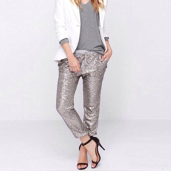 Women Sequin Elastic Waist Casual Pants