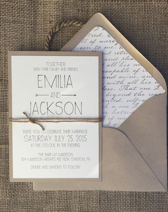 Rustic Modern Chic Wedding Invitation Simple & di aLukeDesigns