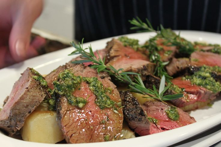 Peppered Fillet of Beef with Salsa Verde