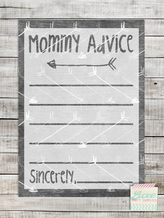 INSTANT DOWNLOAD Printable Arrow Baby Shower Advice Cards For Mommy to Be, Gray Tribal Grey Aztec Arrow party supply games 5x7 by LuxePartySupply on Etsy