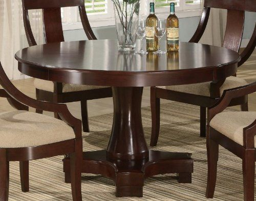 Pedestal Round Dining Table With Curved Feet Deep Cherry Finish By Coaster  Home Furnishings, Http