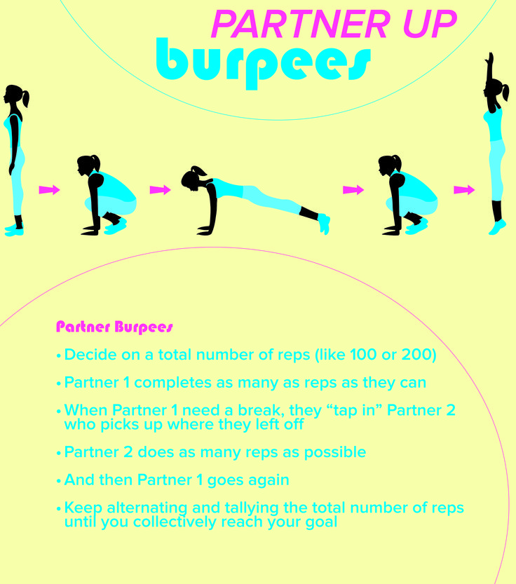 Grab a friend and try doing this burpees exercise. You'll get in a good workout and will have fun doing it. No gym is required.