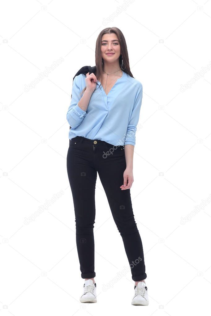 Young Business Woman With A Jacket Over Her Shoulder Isolated On White Aff Woman Business Young Jacket Ad Business Women Women Jackets