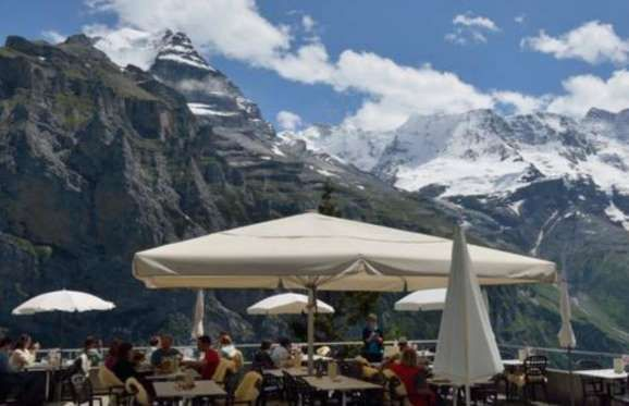 HOTEL EDELWEISS: MÜRREN, SWITZERLAND  It's the breathtaking views of the Eiger, Mönch and Jungfrau mountain range that make the Garden Terrace at Hotel Edelweiss a must-see. The selection of dishes are traditional and served to the preference of the guest. The creative cuisine is paired with an extensive wine list and complimented by the unique view.