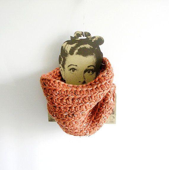 Cinnamon Crochet Scarf Unisex Cowl Man Woman by callmemimi on Etsy, €38.00