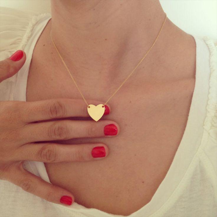 Золото Крошечные Сердце Ожерелье, золото Романтический Ожерелье, дружба Ожерелье, Petite Ожерелье XL254