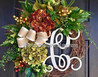 Caída puerta guirnaldas, guirnaldas de monograma, caen corona para puerta, guirnalda de la puerta de acción de gracias, House calentamiento regalo, decoración para el hogar