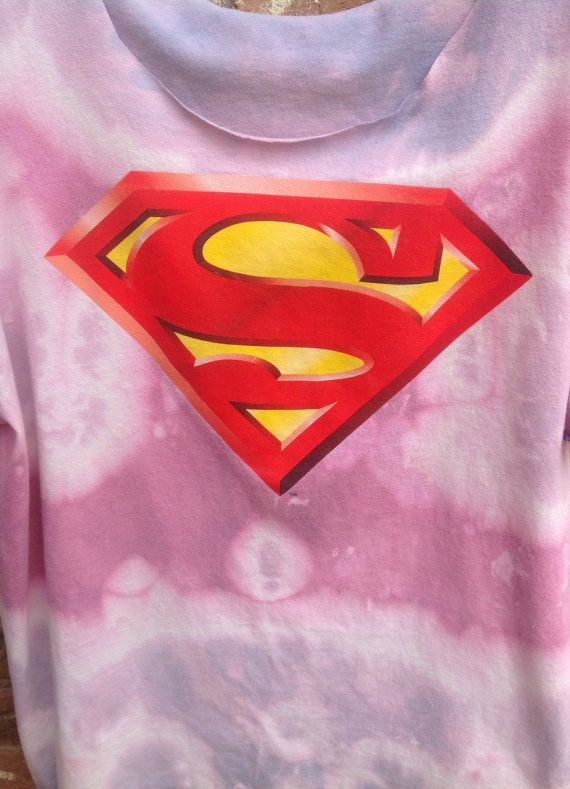 Superman shirt// grunge // bleached // tie dyed by Cranberrymoons