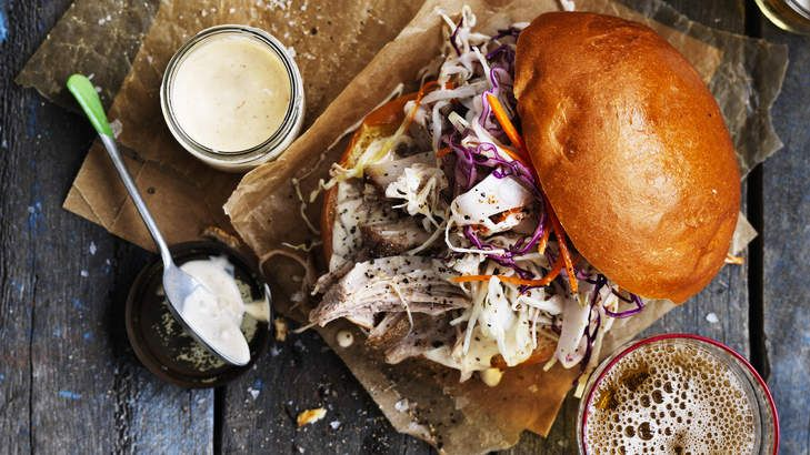 Neil's pulled pork and coleslaw burgers with chipotle mayonnaise.