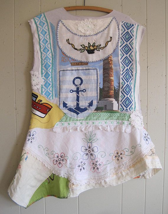 MyBonny  Beach Chic T SHIRT altered random scraps fabric.  crochet sailboat fish Irish linen batik anchors  another boat old buttons seagulls stripes  lace Southwestern vintage doily embroidery