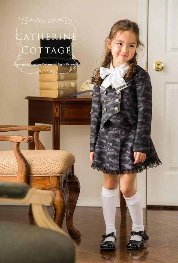 丸襟セーラーのダブルボタンスーツ 子供スーツ キッズスーツ 女の子スーツ  110 120 130 140 150 160 165 cm  グレー 迷彩 卒業式 入学式 舞台衣装