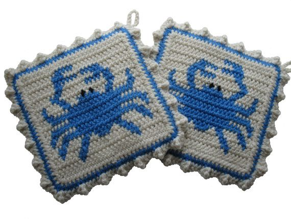 Blue Crab Pot Holders. Beach decor, crochet potholders with blue crabs