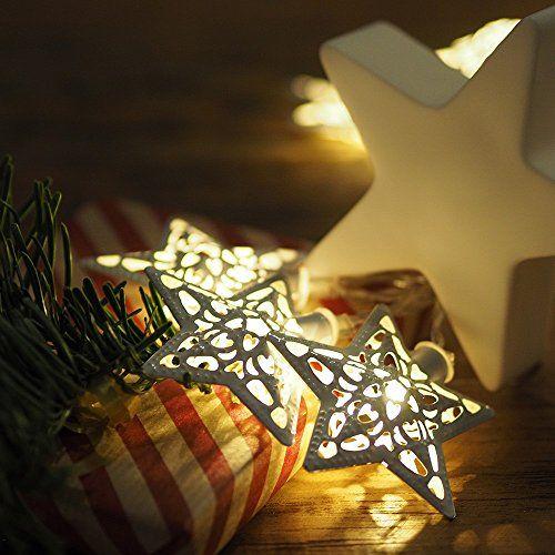 Home&Style Lichterkette mit weißen Metallsternen, 10 LEDs