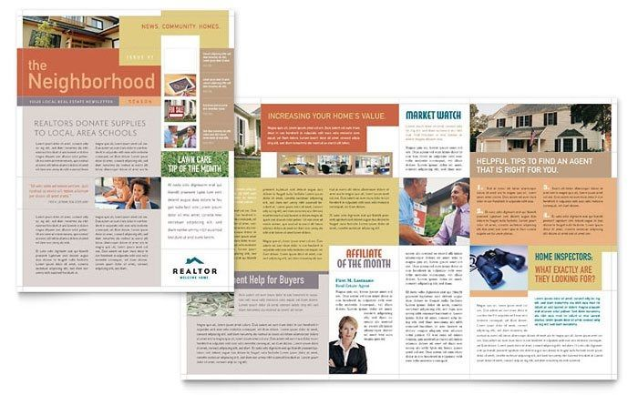 Realtor  Real Estate Agency Newsletter Template Design Throughout