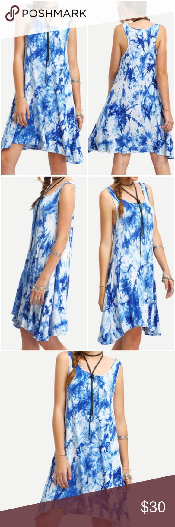Sleeveless Print Shift Dress. Price firm. Blue Sleeveless print shift dress, casual dress or can be used as a beach cover up. Scoop front neck. Material-Polyester. (#6709) Boutique Dresses