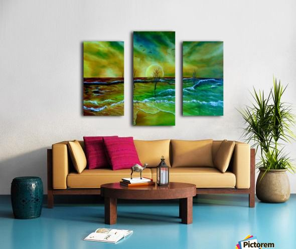 Fine Art, for sale, online, oil painting,  contemporary, whimsical, magical,  imaginary, realism, fantasy, colorful, green, golden, blue, colorful, coastal scene, sandy beach, shore, seaside, waves, ocean, seascape,  sky, sunset, surreal, atmospheric, theme,  water,summer, by the sea, beautiful, nostalgic, poetic, canvas print