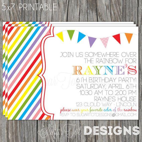 Retro Rainbow Birthday Invitation, Somewhere Over the Rainbow Birthday Party Invitation, Taste the Rainbow Birthday with Photo - Printable via Etsy