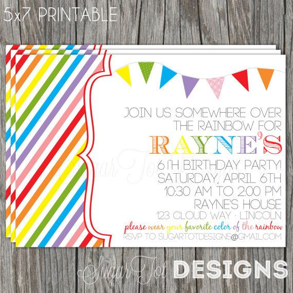 Retro Rainbow Birthday Invitation, Somewhere Over the Rainbow Birthday Party Invitation, Taste the Rainbow Birthday with Photo - Printable via Etsy