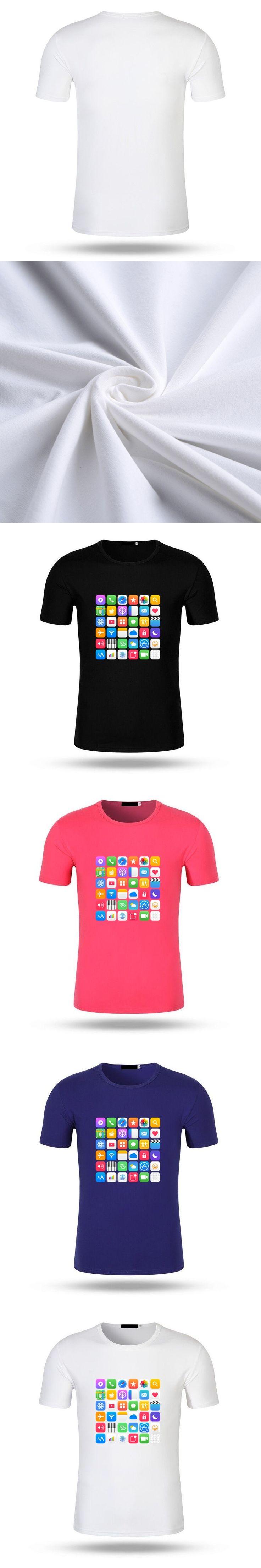 2017 Men Funny T Shirt Fashion Brand Print Phone Icon T-shirt Summer Short Sleeve Modal Cotton Tee Shirt Male Black Shirts