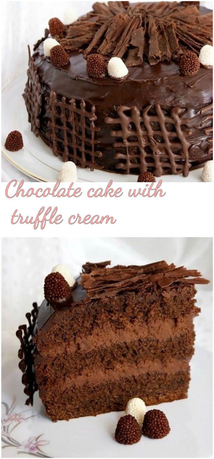 Chocolate cake with truffle cream   Ingredients:  4 eggs 2 cups sugar 1 cup milk 1 cup vegetable oil 1 pt. Vanilla. sugar 3 tbsp. tablespoons cocoa powder 1 pt. Baking powder 2 cups of flour