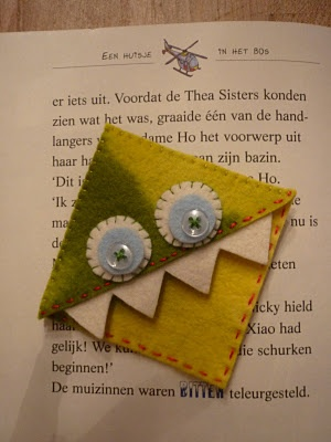 These fabric bookmark monsters would survive my kids better than the paper versions