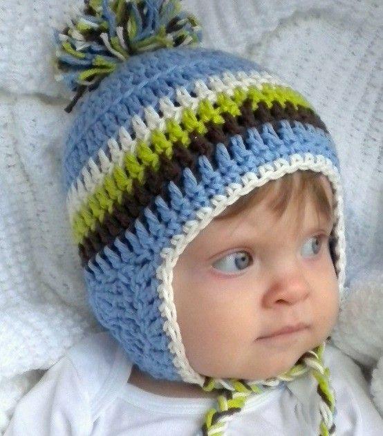 Crochet Baby Ear Flap Hat With Tassels Baby Boy Blue