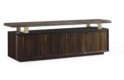 Live Entertainment Media Console Caracole 80W x 20D x 26.5H Fumed Eucalyptus credenza with live-edge Mahogany floating shelf