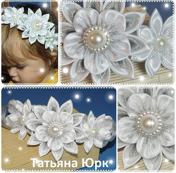 Pretty flower ribbon hair band