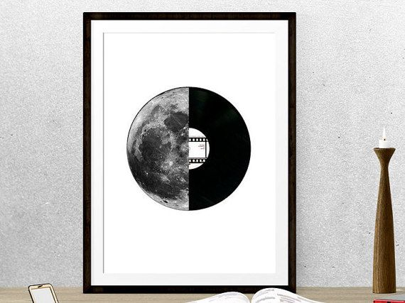 Moon poster, Luna, Vinyl record, Collage print, Large Poster, Minimalist poster, Graphic design, Wall art decor, Digital illustration