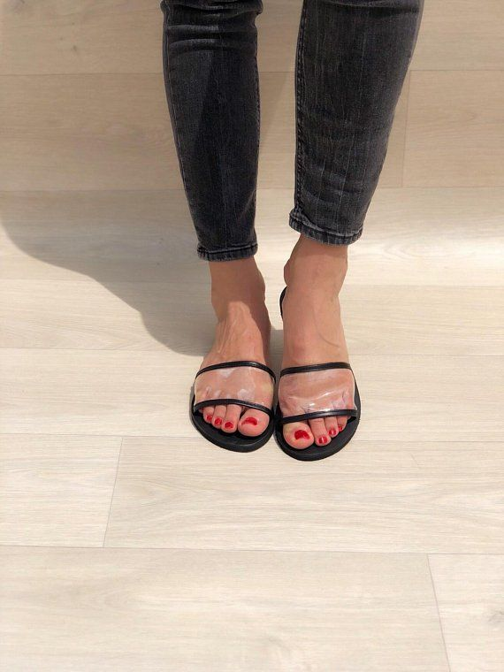 Womens Leather Sandals, Black Sandals, Slides Sandals, Summer Shoes Made from 100% Genuine Leather