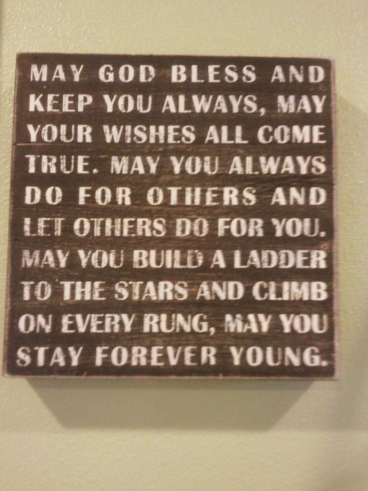 Lyrics containing the term: god bless you go with god