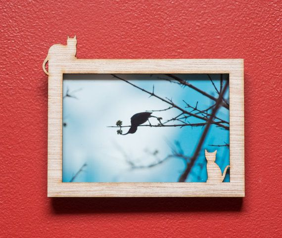 Cat and Kitten laser cut mahogany wood picture by EliseKoncsek
