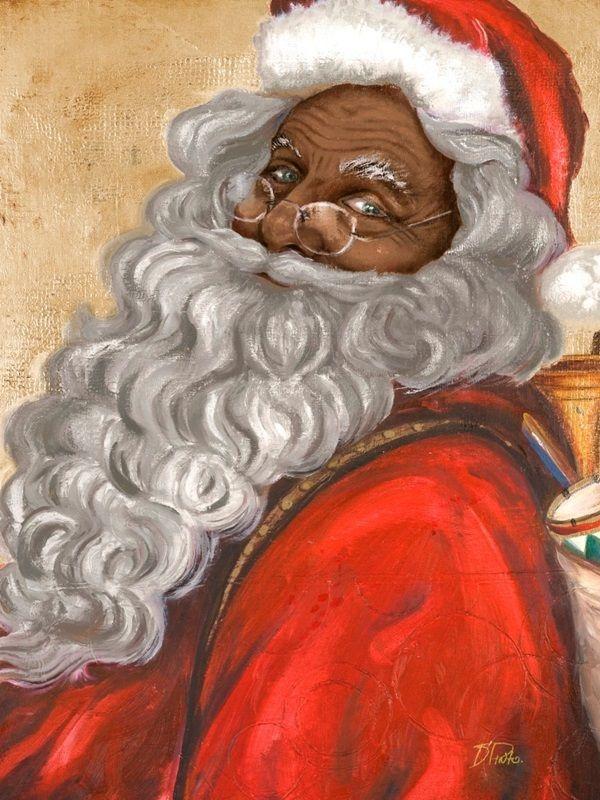 Jolly Saint Nick Santa Claus Art African American Art African American Artwork African American Wall Art