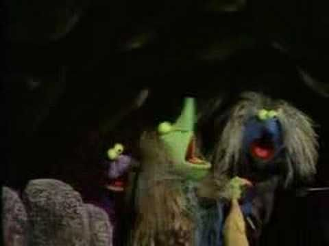 Sesame Street - Three Witches (1972) The idea of 3 witches has become very popular most likely from Macbeth and the recurrence of three.