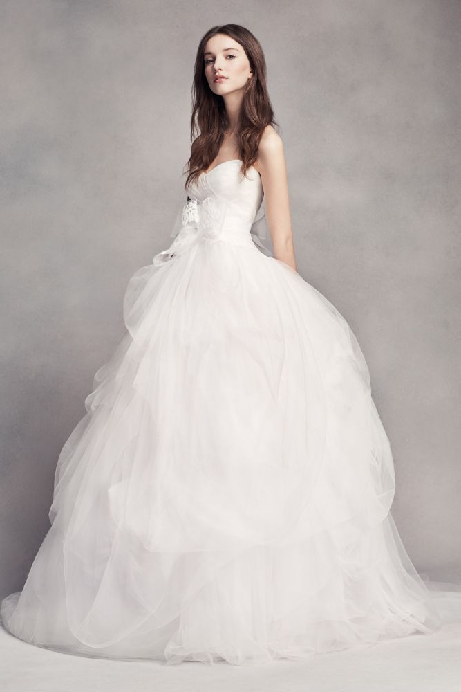 Extra Length White by Vera Wang Draped Tulle Wedding Dress - Soft White, 18W