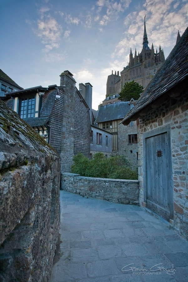 Streets on Le Mont Saint Michel in Normandy, France