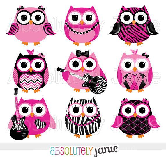 Girly Rocker Owls Zebra Print Digital Clipart  por AbsolutelyJanie
