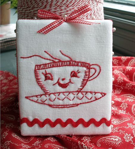 redwork embroidery pinkeep by Norththreads, via Flickr