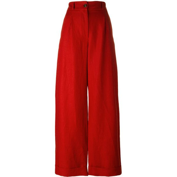 Société Anonyme Summer Brunch pants (¥26,615) ❤ liked on Polyvore featuring pants, red, red trousers, linen pants, summer trousers, summer pants and red linen pants