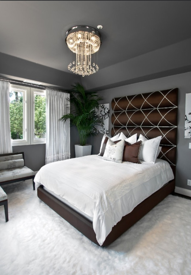 Dark Grey Wall Color Scheme in Contemporary Bedroom Design Ideas. 180 best Houzz com images on Pinterest   Beautiful homes  Curb