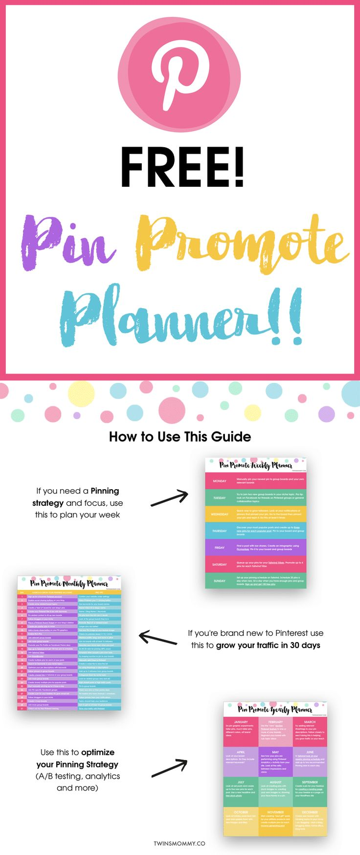 New to Pinterest marketing? Have no idea how to use Pinterest to grow your blog traffic? Pinterest marketing for bloggers comes in this Pinterest planner for you! Yay! Pin Promote Planner will help with Pinterest planning, Pinterest analytics, and more. This is a Pinterest planner printable for free!