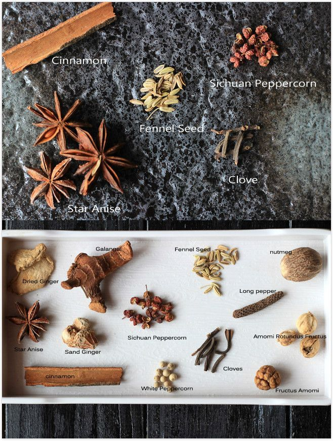 The five basic ingredients for Chinese five spice powder are star aniseed (大料), fennel seeds(小茴香), cloves(丁香), Sichuan peppercorn(花椒) and cinnamon(肉桂) | China Sichuan Food