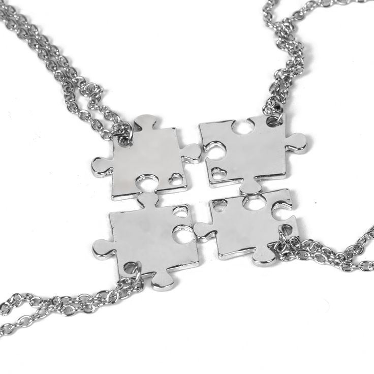 BFF Best Friend Necklaces For 4 Interlocking Jigsaw Puzzle Pendant Necklace Friendship Necklace Bestfriend Family Jewelry Gift