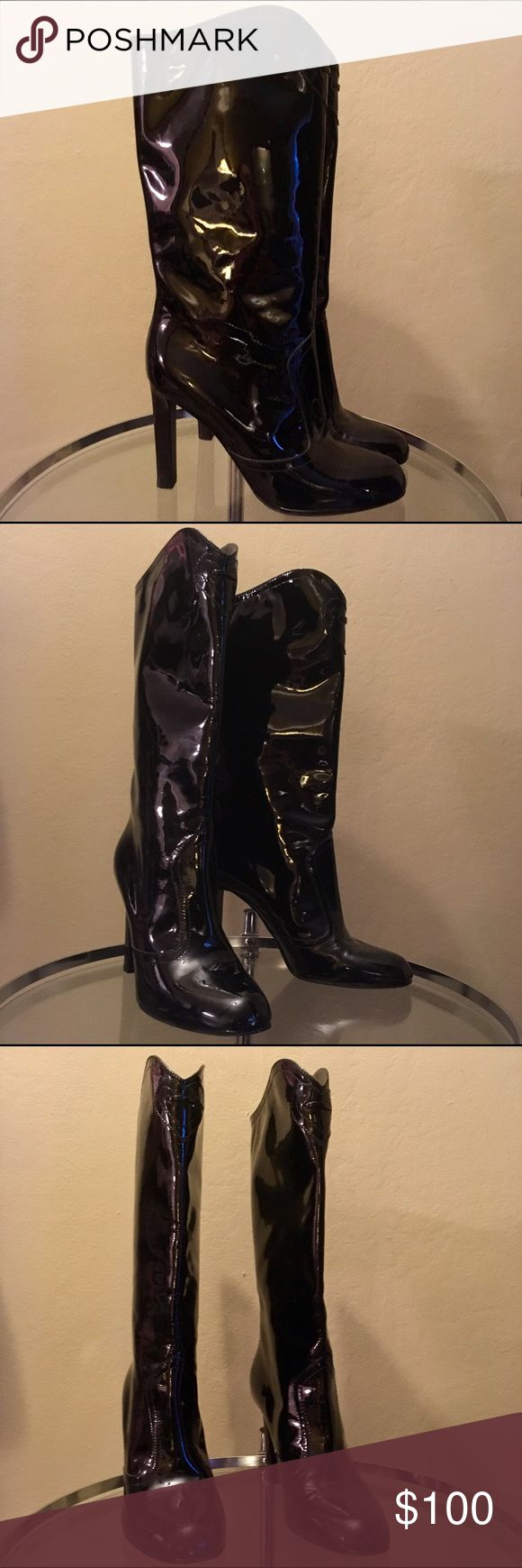 """Like new! Emporio Armani Patent Leather Boots Like new! Emporio Armani black patent leather heeled boots w/ front tassels (removed, but included and shown in last image) in a 1-time worn/like new condition size 6.5. Measurements: 13.75"""" heel, 14"""" shaft Emporio Armani Shoes Heeled Boots"""